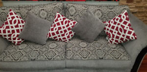 beautiful Sofa gray pattern with six cushion & black leather lov