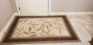 BEIGE & AND BROWN AREA RUG OR LARGE MAT WITH BEIGE LEAF PATTERN