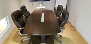 Boardroom Table with 4 high back leather chairs