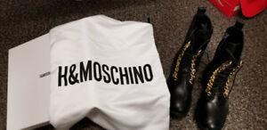 H&M Moschino 2018 Collection Men's Leather Boots Gold Chains