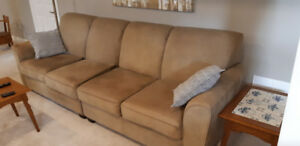 Leather couch green or beige  depending on your eye! Asking 200