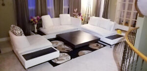 White leather sofa with matching pillows and table set for sale