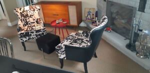 2 Nailhead Accent Chairs Cowhide Pattern and Black Leather