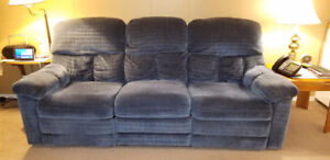 SOLD. Recliner Fabric Sofa and Recliner Fabric Chair
