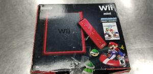 Nintendo Wii Mini Red With Mario Kart Game and Wheel