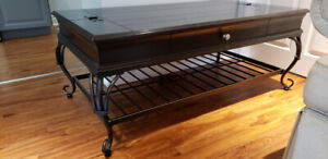 Black Coffee Table with storage compartment and lower shelf