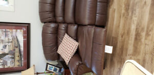 BondedLeather couch and chair