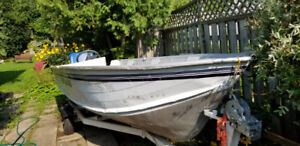 15+ Foot Aluminum Deep V fishing boat, motor, trailer.