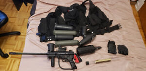 Tippmann A5 with response trigger and other equipment. PAINTBALL