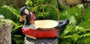 Vintage Paper Mache Geese, Duck Basket Centerpiece