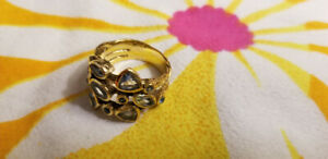 Vintage 24 ct Gold Plated Sterling Silver Ring with Blue Topaz