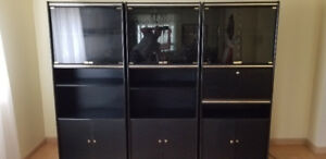 Black Wall Unit / Display Cabinet in good condition