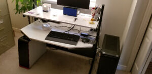 Office desk, white and metal, sturdy REDUCED