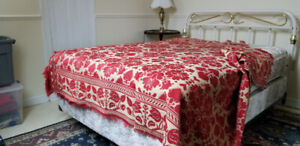 Antique red Jacquard loom coverlet