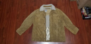 Mens Sherpa Suede Leather Jacket (XL)