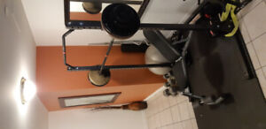 $450 OBO Home Gym - Squat Rack, Bench, Weights & dumbells