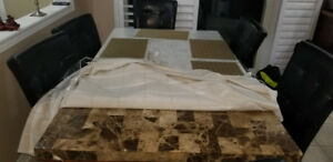 Dining Table with six chairs.  Marble top