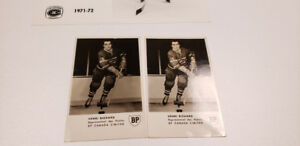 Henri Richard two signed hockey post cards and Canadiens picture