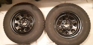 "2 New Goodyear Nordic 215/75/15"" Winter Tires Steel Rims 15x6"