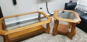 Solid oak living room table and end table.