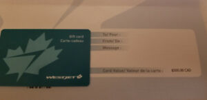 $500.00 Westjet Giftcard..use anywhere Westjet flies