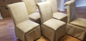 9 gorgeous, skirted, high end, cream colored chairs