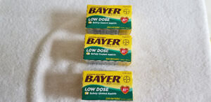 3 Pack Bayer Low Dose Aspirin Pain Reliever 81 mg