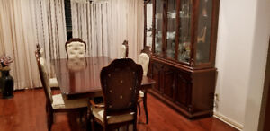 All wood dining table, Hutch and 6 chairs