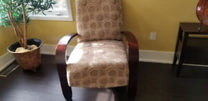Accent Chairs with wide brown wooden arms