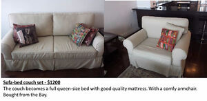 Sofa set and futon - quality furniture good as new