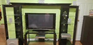 Entertainment wall unit with TV and surround system