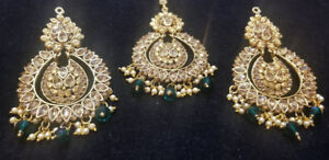 Gold and Green Earring and Tikka Set