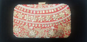 Red and Gold Embroidered Boxed Clutch