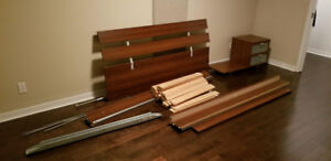 Authentic Queen Size Bed Frame + Night table 250$!