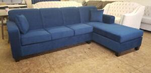 Brand New Velvet Blue Modern Sectional - Made in Canada- $850