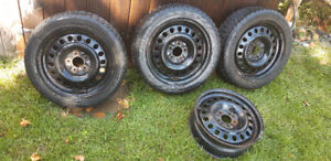 """215/50/17"""" Avalanche Extreme Winter Tires + 4 Steel 5x114.3 Rims"""