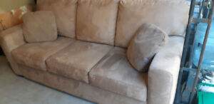 delivery included- beige microfiber couch
