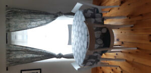 Table, 4 chairs, 2 table cloths and curtains for sale