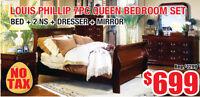 Louis Phillip 7pc Queen Bedroom Set, $699 Tax Included!