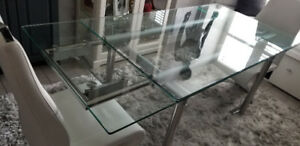 Glass kitchen table with chairs