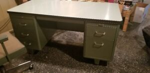VINTAGE METAL DESK AND BOOK SHELF IN MINT CONDITION