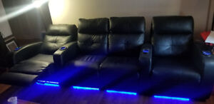 Elran Black Leather Theater Style Couch