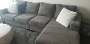 Grey Sectional Couch - Excellent Condition