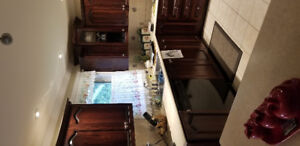 Kitchen cabinets, countertops and island