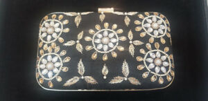 Black and Gold Embroidered Boxed Clutch