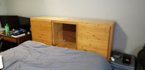 Solid wood Head Board with shelves