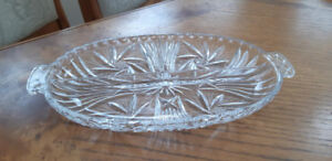 Beautiful vintage crystal pinwheel serving dish 12 by 8""