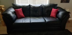 Couch black leather look