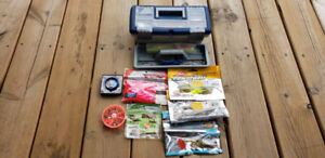 Child's tackle box with hooks, lures, ect..