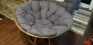 Papasan Chair with Taupe Base and Navy Cushion